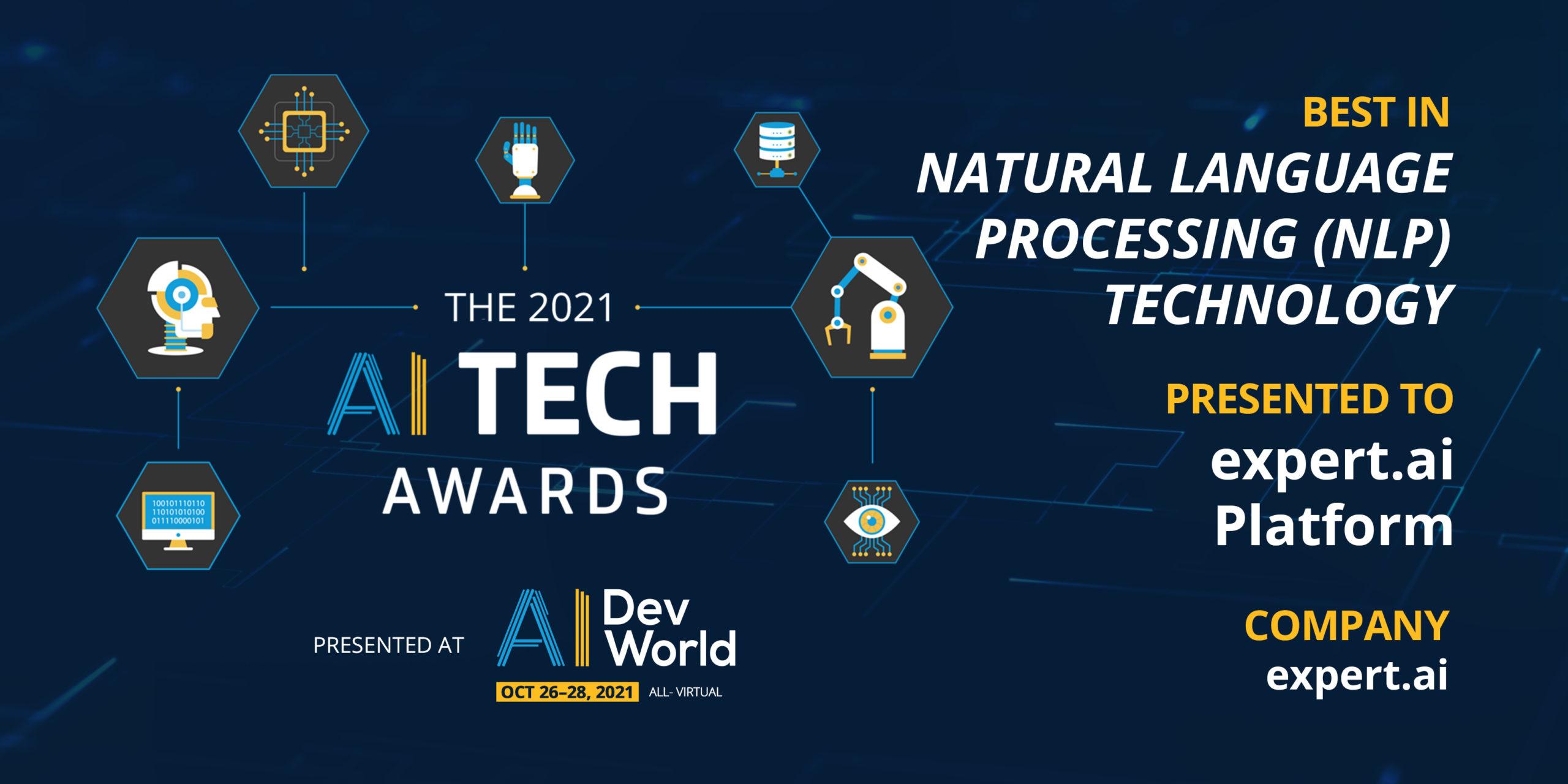 """Expert.ai premiata come """"Migliore tecnologia di natural language processing"""" agli AI TechAwards 2021"""